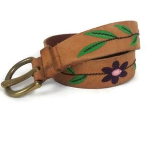 GAP Hippie Boho Leather Belt Embroidered Flowers